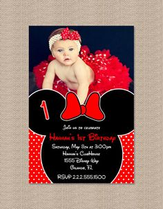 Red Minnie Mouse Birthday Party Invitations by Honeyprint on Etsy, $12.50