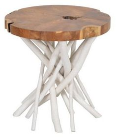 Marcel Round Side Table Love the white with natural wood!