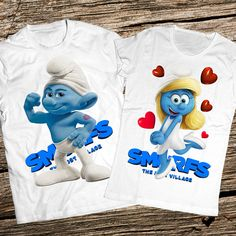 3D Couple Smurf Tshirts Hefty smurf and Smurfette Couple