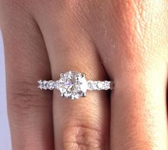 3.05 Ct Round Cut Diamond Engagement Ring Enhanced SI1/F 14K White Gold