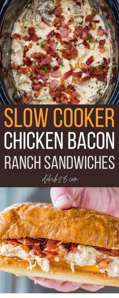 SLOW COOKER CHICKEN BACON RANCH SANDWICHES Chicken Bacon Ranch Crockpot, Chicken Bacon Ranch Sandwich, Grilled Chicken Recipes, Slow Cooker Chicken, Bruschetta Chicken, Chicken Meals, Field Meals, Slow Cooker Huhn, Sandwiches