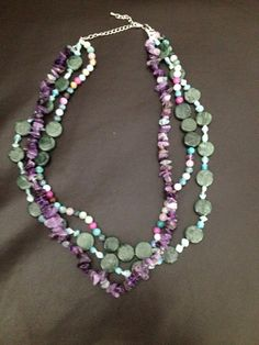Amethyst and assorted stone necklace.  #etsy #diy #homemade #Amethyst #purple #green  https://www.etsy.com/listing/243864731/amethyst-and-assorted-stone-necklace?ref=shop_home_active_1