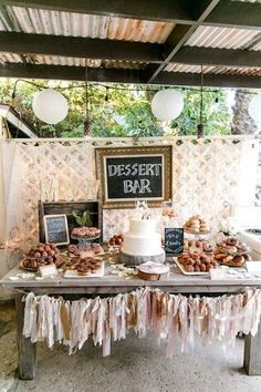 Retro California Ranch Wedding Dessert bar for wedding – a donut and dessert bar with chalkboard sign and blush + gold tassels {Leah Marie Photography} - Boho Wedding Dessert Bar Wedding, Wedding Desserts, Wedding Table, Rustic Wedding, Wedding Cakes, Donut Bar Wedding, Trendy Wedding, Bridal Table, Wedding Sweet Tables