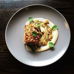 Pine nut crusted brill • artichoke purée chestnut mushrooms • beurre noisette. Dish by @chef_joe_mccarthy ...one of America's best chefs in our opinion #soignefood
