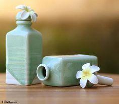 Frangipani Celadon Ceramic Green Floral Oil Bottles (Pair)