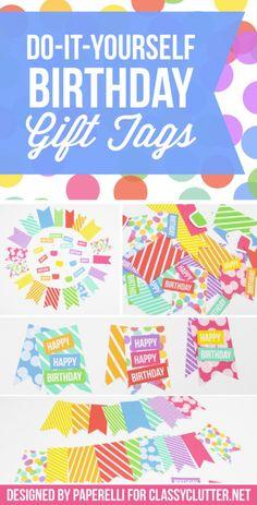 DIY Birthday Gift Tags! Cute printable gift tags.