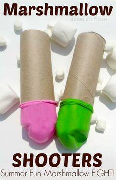 Easy to make marshmallow shooters- so fun for kids! Nothing says Summer like a marshmallow fight followed by S'more's by the fire! Summer Games, Summer Kids, Summer Crafts For Kids, Outdoor Games, Outdoor Fun, Outdoor Toys, Marshmallow Shooter, Marshmallow Crafts, Marshmallow Games