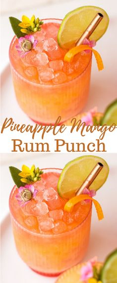 juice 3 oz of coconut rum (you can also use light or dark rum here instead) 1 oz of mango juice 1 oz of orange juice splash of grenadine (mainly just for lo Drinks Pineapple Mango Rum Punch Drink Party, Party Drinks Alcohol, Alcohol Drink Recipes, Liquor Drinks, Mix Drink Recipes, Rum Recipes, Fast Recipes, Delicious Recipes, Tasty