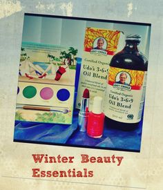 Winter beauty essentials - Bright lipstick, eyeshadows, nail polish from Honeybee Gardens and Udo's 3 6 9 Oil Blend www.ntphealthproducts.com