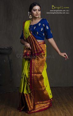 Assamese Cotton Silk Mekhela Chador in Green and Red Indian Blouse, Indian Sarees, Banarasi Sarees, Silk Sarees, Assam Silk Saree, Mekhela Chador, Wedding Doll, Fabric Combinations, Saree Styles