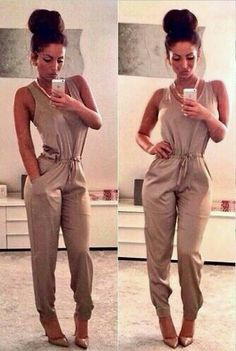 ♡ LOVE THE JUMPSUIT. NOT necessarily the color (sense I'm bronze in color) but, I love the gathered ankle + waistline + tank styled top.