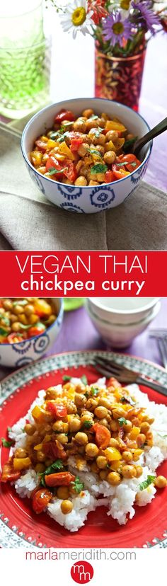 Vegan Thai Chickpea Curry | MarlaMeridith.com ( @marlameridith ) Red Thai Curry Vegetarian, Thai Vegetarian Recipes, Coconut Curry Vegan, Vegan Chickpea Curry, Thai Vegan, Coconut Milk, Thai Recipes, Indian Food Recipes, Veggie Recipes