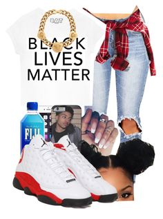 """""""Black Lives Matter"""" by miss-trillest ❤ liked on Polyvore featuring Forever 21, Queen Bee, NIKE and Versace"""