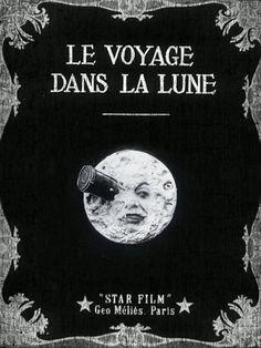 "Short, silent sci-fi/fantasy film (aka ""A Trip to the Moon"") from France (1902, dir. Georges Méliès)"