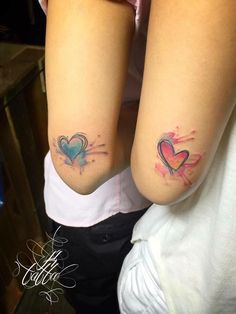 ❤Beautiful Watercolor Heart Tattoos.