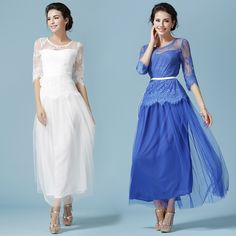 Women dress Lace 7117 Wizard Oz Fan Deer France Dresses White Blue 9543