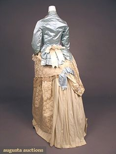BLUE & IVORY SILK BUSTLE DRESS, 1880s