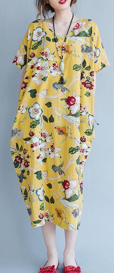 women yellow Midi linen dresses trendy plus size traveling clothing vintage back open floral