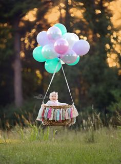 One year old portrait session, hot air balloon child portrait, cake smash…