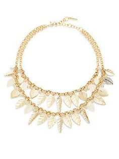 Saks Fifth Avenue Two-Row Leaf Bib Necklace - Gold - Size No Size