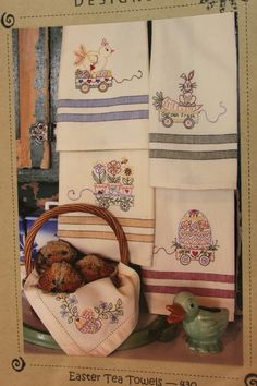 Easter Tea Towels Hand Embroidery Patterns Bird by agardenofroses, $9.00