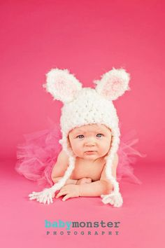 Newborn Baby Hat -Bunny  Hat - Baby Bunny Hat  -Photography prop -  White Rabbit Hat - by JoJosBootique on Etsy, $26.00