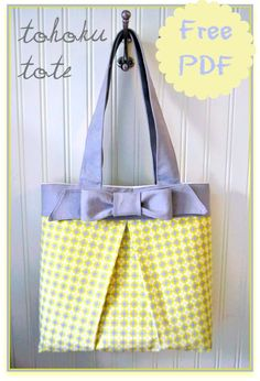 The Tohoku Tote Bag – Free Pattern Tutorial + How to Sew Box Pleat Pockets Sewing Inspiration from Cheri of I Am Momma Hear Me Roar and Si...
