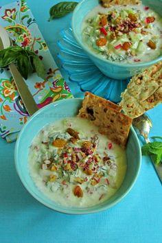 Abdoogh Khiar - Persian Cold Yogurt Soup with Cucumbers, Herbs, Walnuts & Raisins