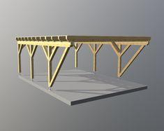 Carport aus Holz für zwei PKW, das Dach ist mit einer zweireihigen