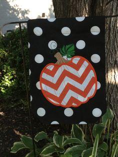Orange Chevron Pumpkin Garden Yard Flag Black and White Polka Dots Custom Personalized Burlap Projects, Burlap Crafts, Holidays Halloween, Halloween Decorations, Chevron Pumpkin, Pumpkin Garden, Yard Flags, Orange Chevron, Flag Stand
