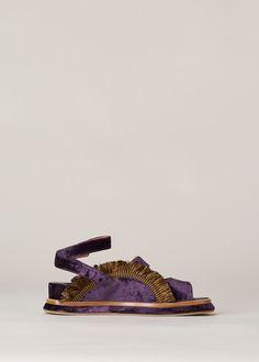 Dries Van Noten Fringe Sandal (Purple)