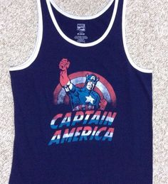 SEE SIZE CHART Men M/L CAPTAIN AMERICA TANK TOP Navy-Blue/White/Red Marvel Comic #Marvel #Tank