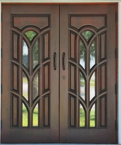 Find custom mahogany doors and high impact exterior entrance doors of the finest quality. We manufacture french doors, carved doors and custom solid wood church doors as well as an entire line of fine impact resistant mahogany doors. Door Design Images, Home Door Design, Door Gate Design, Main Gate Design, Wooden Front Door Design, Double Door Design, Wooden Front Doors, Wooden Windows, Modern Wooden Doors