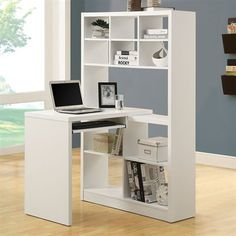 Simple yet stylish, this Monarch Specialties White Office Suite will compliment your existing living room or reception furniture. White Desk With Bookcase, Bookshelf Desk, Corner Bookshelves, Modern Office Desk, Office Suite, Office Desks, Office Playroom, Reception Furniture, White Office