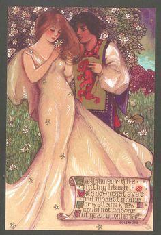 "Schmucker Mottoes ""She Listened with Blush"" Ed Postcard from Original Art John Hendrix, Antiques Online, Postcard Art, Collage Sheet, Vintage Postcards, Motto, Quilt Blocks, Vintage Art, Art Nouveau"