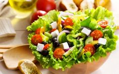 Preview wallpaper salad, greek, vegetables, cucumbers, peppers, tomatoes, leaves, olives, cheese, food, plate, bread, loaf, butter