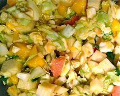 Mango Salad with Jicima, Cabbage, Celery, Scallion/Shallot, Avocado, Cilantro, Lime Juice.