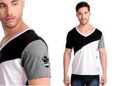 Camiseta Diagonal | Cód.1033 | 100% Algodão com recortes e estampa silk.