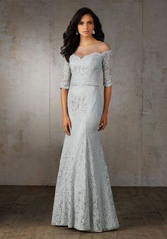 f105afc6d2a Lace Mother of the Bride Dress with Elbow Length Sleeves. An Illusion  Neckline Creates an