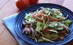 Spring Salad with cucumber, tomato, red onion and cabbage