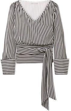 Shop for Alice + Olivia Alba Striped Silk Wrap Blouse on - ecc820c890