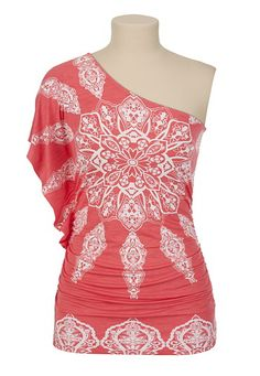 9bcf0a875f1d32 Medallion Print One Shoulder Top - maurices.com One Shoulder Shirt