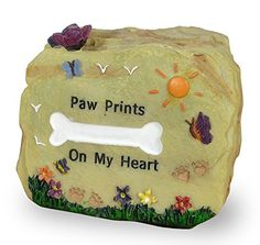 Dog Remembrance Message Rock - Paw Prints on My Heart Desktop Rock with a White Dog Bone and Colorful Butterflies and Flowers - In Memory of a Pet - Dog Remembrance - Loss of a Pet