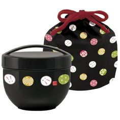 Japanese Bento Bowl 2 Tier Temari Rabbit 560ml (19oz) with Carrying Bag (BLACK)