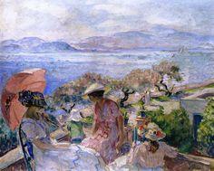On the Terrace Facing the Sea, Sainte-Maxime - Henri Lebasque - 1914