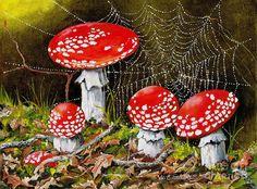 Magical Mushrooms No 2 Painting  - Magical Mushrooms No 2 Fine Art Print