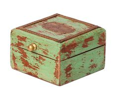 "Bulk Wholesale Hand-Crafted 4"" Wooden Pastel-Green Colored Jewelry Box Decorated with Golden Brass Inlay Work – Vintage-Look Box from India"