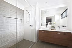 Vanity with stone top and shadow line, dark cabinets & light top Prefer undermount basin SHOWER large niche shelf Clarendon Homes' Sheridan 40 - Ensuite Clarendon Homes, Best Bathroom Designs, Display Homes, Cabinet Lighting, Dark Cabinets, Open Plan Kitchen, Modern Family, Beautiful Bathrooms, Modern House Design