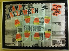 meltakesthecake:    My new bulletin board for October (a little late)! Tips for a safe night out based on horror movie cliches! I'm pretty proud of it :)