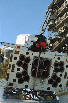 Energia rocket and Buran Soviet space shuttle being prepared for launch.